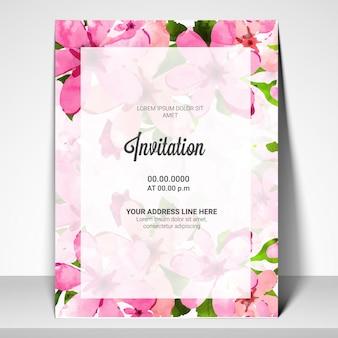 Invito scheda di partito con decorazioni di fiori rosa.