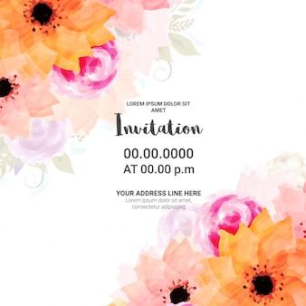 Invito scheda di progettazione con fiori di acquerello.