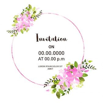 Invito scheda di progettazione con fiori rosa.