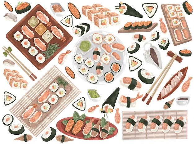 Involtini di sushi, cucina orientale, frutti di mare set doodle.