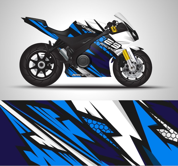 Involucro della decalcomania del motociclo e illustrazione dell'autoadesivo del vinile.