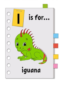 Io sono per l'iguana. gioco abc per bambini. parola e lettera. imparare parole per studiare l'inglese.