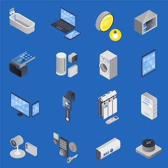 Iot internet of things set di icone isometriche