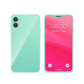 Iphone 11 realistico con sfondo