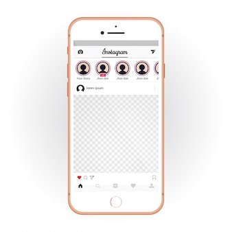 Iphone con kit mobile ui instagram. smartphone mockup e chat app