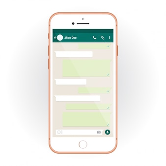 IPhone con kit UI mobile WhatsApp messenger. Smartphone mockup e chat app