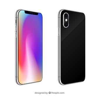 Iphone x con diverse viste in stile realistico