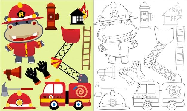 Ippopotamo cartone animato il pompiere con attrezzature di soccorso antincendio