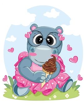 Ippopotamo che tiene il gelato indossa abiti rosa e occhiali illustrazione fumetto per le vacanze estive