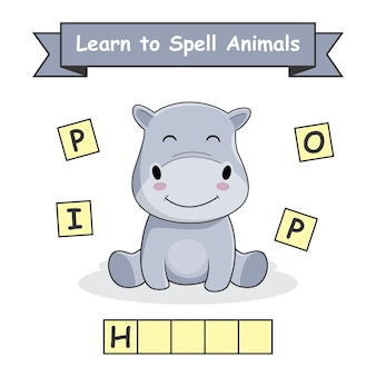 Ippopotamo impara a sillabare foglio di lavoro sugli animali