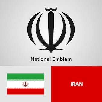 Iran national emblem and flag