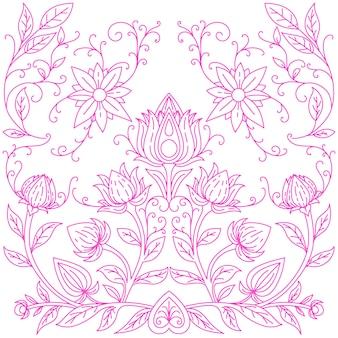 Iris rosa su un'illustrazione blu-viola bianca