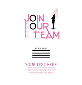 Iscriviti al nostro poster di lavoro di squadra con silhouette donna