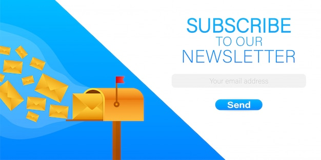 Iscriviti via e-mail, modello di newsletter online con cassetta postale e pulsante di invio. illustrazione di riserva.