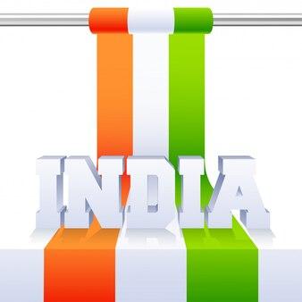 Iscrizione 3d dell'india con la bandiera nazionale