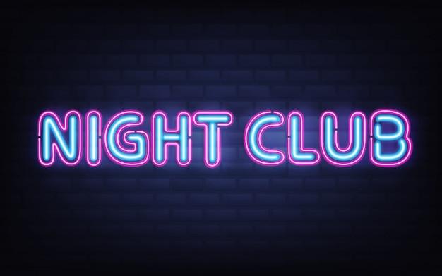 Iscrizione al neon del night club sul muro di mattoni scuro. insegna d'ardore realistica altamente dettagliata brillante rosa blu