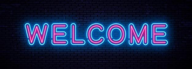 Iscrizione al neon di bello vettore benvenuta