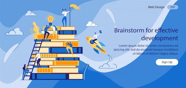 Iscrizione brainstorming per uno sviluppo efficace.