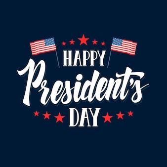 Iscrizione del giorno del presidente con le bandiere