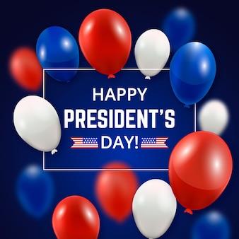 Iscrizione del giorno del presidente con palloncini realistici