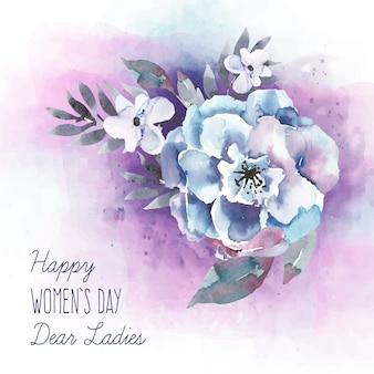 Iscrizione del giorno delle donne con il bel fiore dell'acquerello
