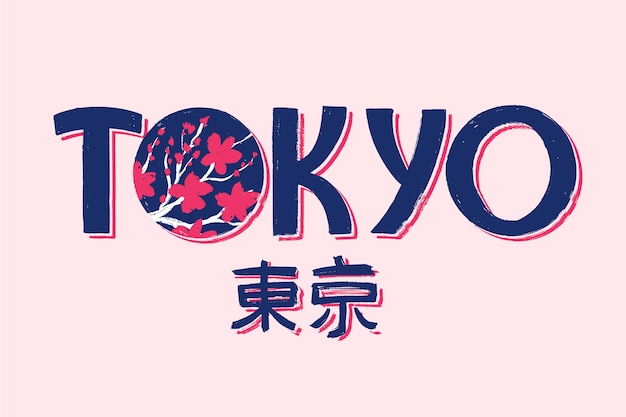 Iscrizione della città di tokyo su sfondo rosa