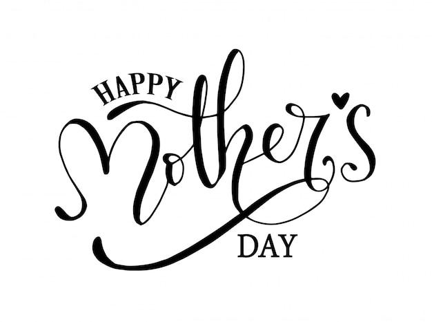 Iscrizione della mano di festa della mamma felice