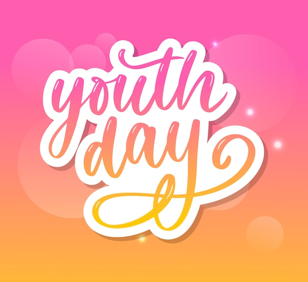 Iscrizione dello slogan di sfondo giallo giorno della gioventù internazionale