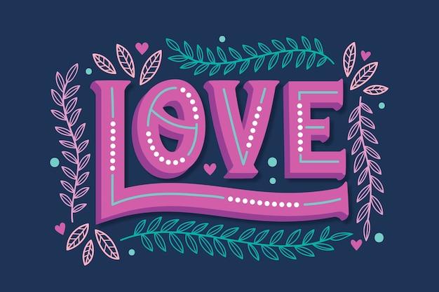 Iscrizione di amore nel concetto di stile vintage