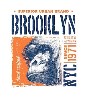 Iscrizione di brooklyn con l'illustrazione di vettore della scimmia.