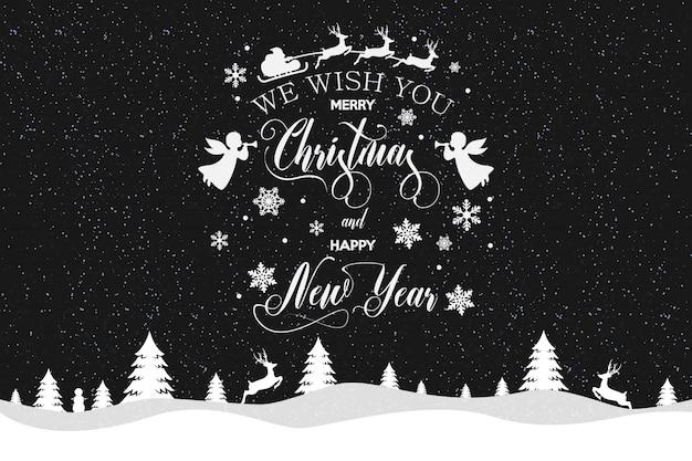 Iscrizione di buon natale e felice anno nuovo decorata con fiocchi di neve bianchi e babbo natale