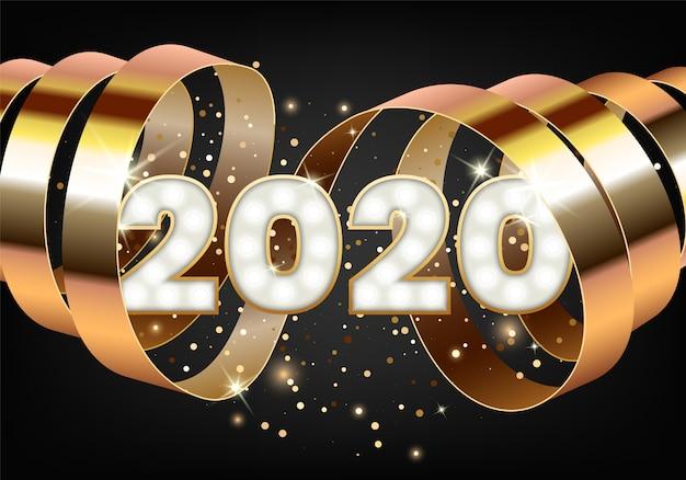 Iscrizione di carta di buon natale e felice anno nuovo 2020 decorato con nastro d'oro