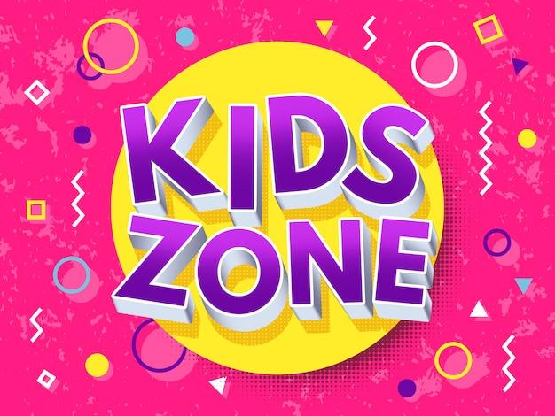 Iscrizione di cartone animato zona bambini.