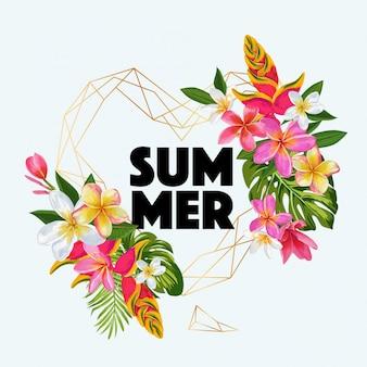 Iscrizione di estate con illustrazione incorniciata di fiori esotici
