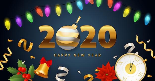 Iscrizione di felice anno nuovo 2020 con ghirlanda di luci, orologio, campana