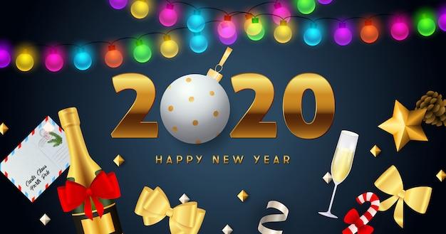 Iscrizione di felice anno nuovo 2020 con ghirlande di luci, champagne
