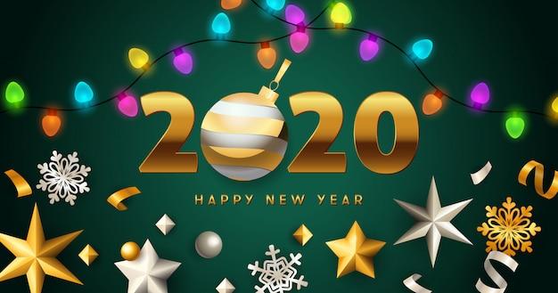 Iscrizione di felice anno nuovo 2020 con ghirlande di luci, stelle