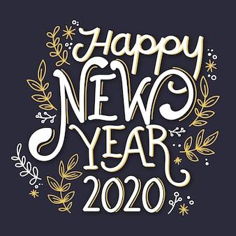 Iscrizione di felice anno nuovo 2020 sullo sfondo