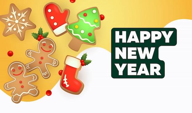 Iscrizione di felice anno nuovo con biscotti di panpepato