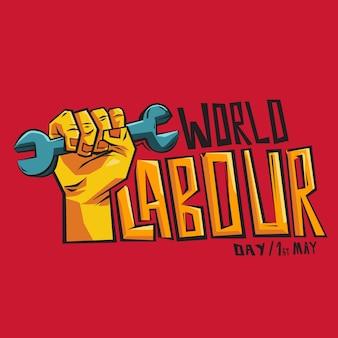 Iscrizione di festa del lavoro mondiale con l'illustrazione