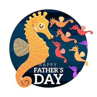Iscrizione di festa del papà disegnata a mano con cavalluccio marino