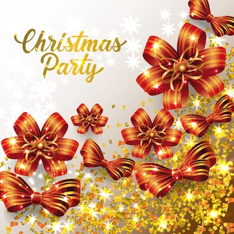 Iscrizione di festa di natale con brillanti coriandoli e fiocchi di nastro