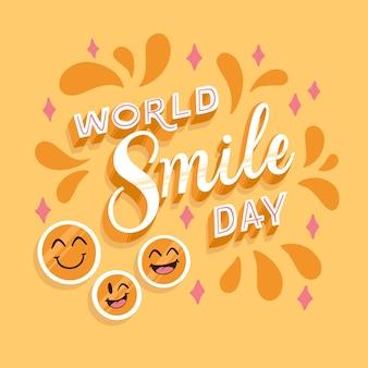 Iscrizione di giornata mondiale del sorriso con le stelle