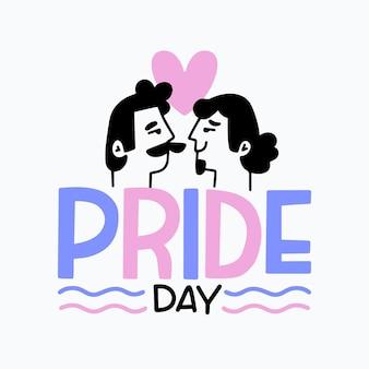 Iscrizione di giorno di orgoglio con coppia gay