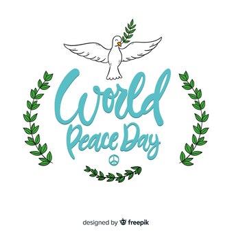 Iscrizione di giorno di pace con colomba