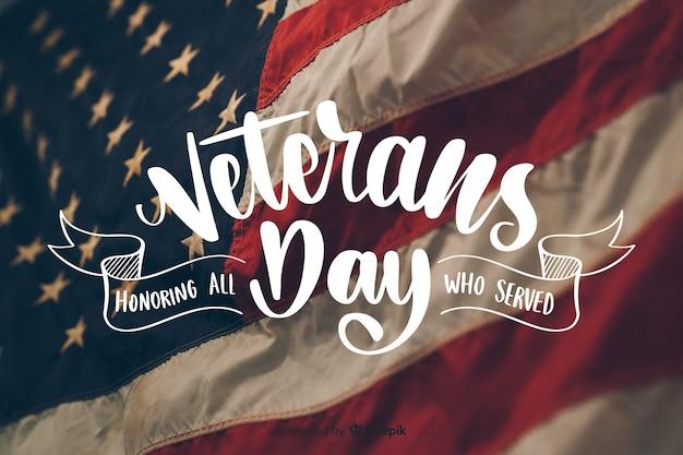Iscrizione di giorno di veterani con foto