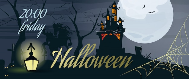 Iscrizione di halloween con web, luna, castello e lanterna