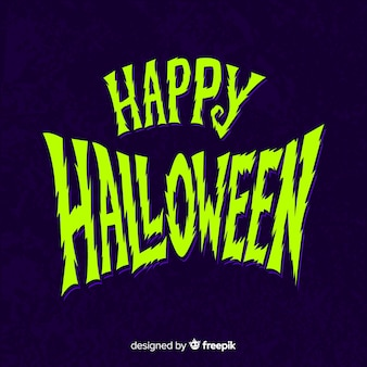 Iscrizione di halloween felice blu e verde