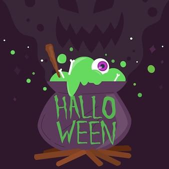 Iscrizione di halloween felice con calderone
