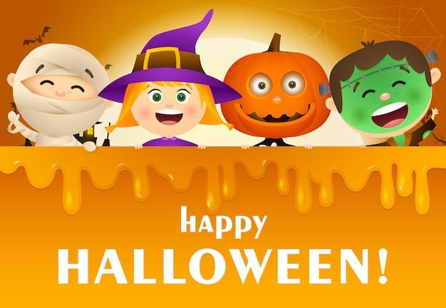 Iscrizione di halloween felice con i bambini in costumi di mostri
